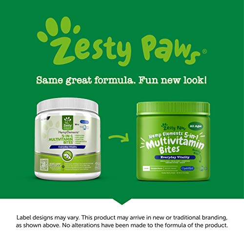 Zesty Paws Multivitamin for Dogs with Hemp – Glucosamine Chondroitin MSM for Hip Joint Health – Digestive Enzymes Probiotics for Digestion – Vitamins Omega 3 for Skin Coat Heart Immune