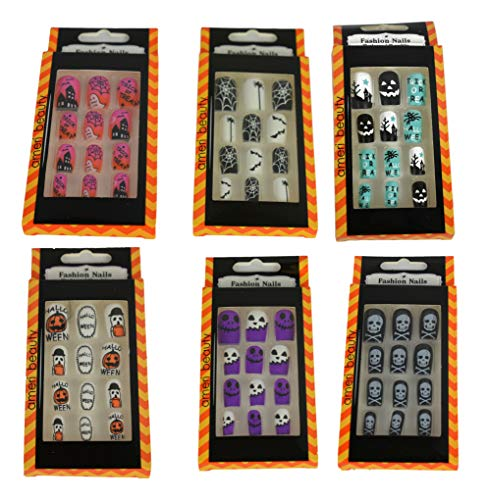 ashion Fake Nail Sets! 72 Total Pieces! 6 Different Themes! 12 Different Sizes! Faux Reusable Nails Perfect for any Costume, Halloween Party, or Regular Use! (6) ()