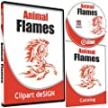 Animal Flames Clipart-Animal Vinyl Cutter Plotter Clip Art Graphics-Digital Sign Design Images-EPS Vector Art Software CD-ROM