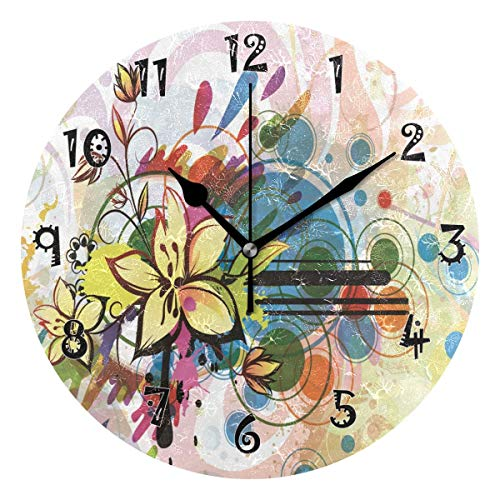 Dozili Art Flower Wooden Round Wall Clock Arabic Numerals Design Non Ticking Wall Clock Large for Bedrooms,Living Room,Bathroom