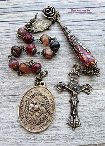 Tween Hearts Sacred Immaculate Holy Sacraments Virgin Mary Agate Bronze One Decade Antique Style Rosary Chaplet Joy Protection Vitality ()