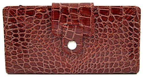 Mundi Brown Patent Croco Tab Clutch Wallet w/ RFID Blocking Safe Keeper - Mundi Brown Handbag