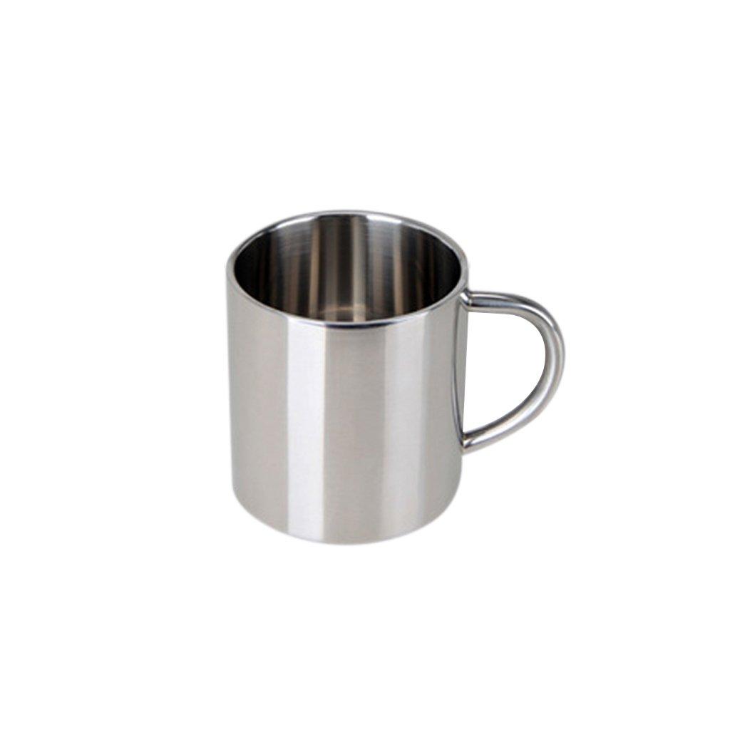 Fityle Stainless Steel Double Wall Insulated Mug Cup Coffee Beer Tea Mug - Silver, 400ml