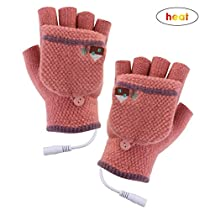 Azyuan USB Heated Gloves,Warm Wool Winter Laptop Gloves,Knitting Heating Gloves