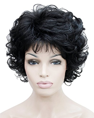[Kalyss Women's wigs Short curly Syntheitc Black Hair Wig] (Curly Wigs For Black Hair)