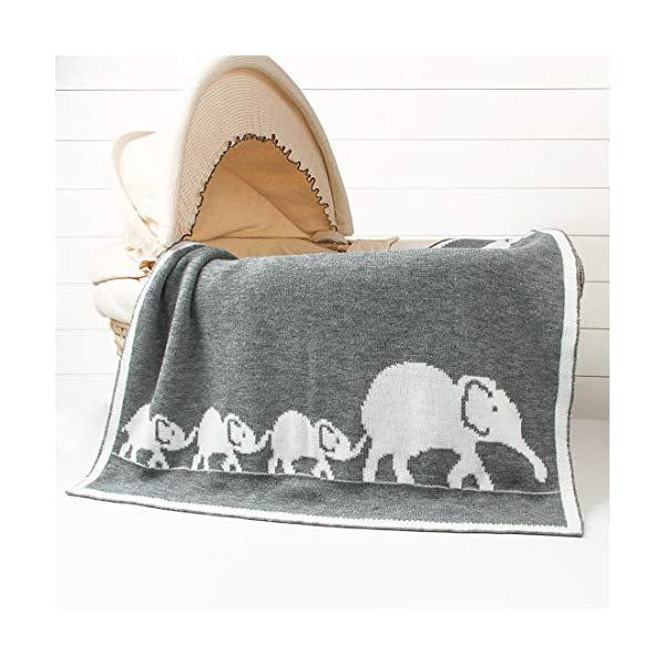 Homiest Baby Elephant Blanket Knit Baby Swaddle Blanket for Infant Boys Girls Cribs, Strollers, Nursing (Grey Elephant Blanket, 30″x40″)