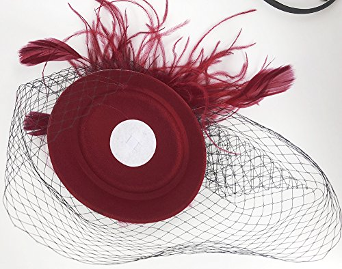 Cizoe Fascinators Hats 20s 50s Hat Pillbox Hat Cocktail Tea Party Headwear with Veil for Girls and Women (B-Burgundy) by Cizoe (Image #4)