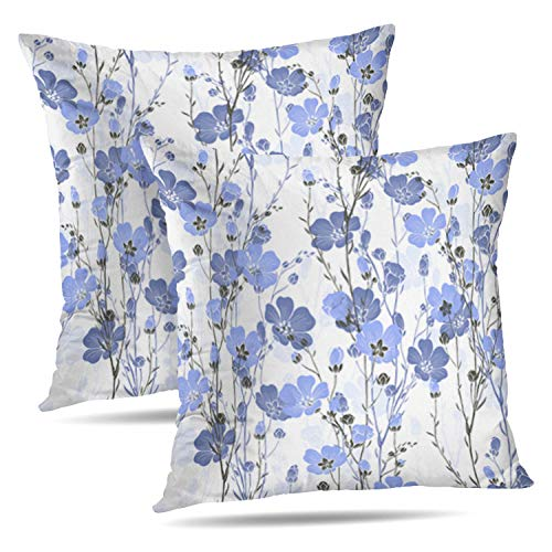 Darkchocl Set of 2 Decorative Throw Pillow Covers Floral Plant with Flowers and Buds Flower Linen Square Pillowcase Cushion for Couch Sofa Bed Cotton and Polyester 18