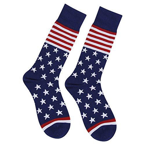 Business Gift Socks, LANDUNCIAGA Men Crew Classic Patriotic American Flag Socks Stars Stripe Design Funny Novelty Cotton Crew Bridegroom Groomsmen Socks Mid Calf,6 Pairs by LANDUNCIAGA (Image #5)