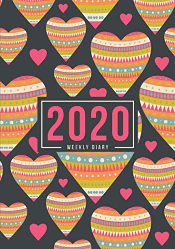 2020 Weekly Diary: January 1, 2020 to December 31, 2020: Portable Format Weekly & Monthly View Planner, Organizer & Diary: Hearts with Pattern 523-4 -  Papeterie Bleu, Paperback
