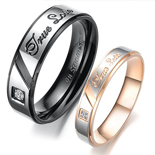 Mens Womens Black Rose Gold Stainless Steel Engrave True Love Couples Ring Wedding Silver Band CZ Inlay