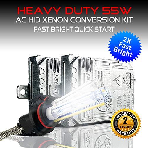 - Heavy Duty Fast Bright Quick Start 55W AC HID Xenon Conversion Kit H1 H3 9006 HB4 H8 H9 H11 100% No OBC Error Headlight Fog-light (6000K Daylight White, H7)