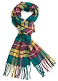 Plum Feathers Plaid Check and Solid Cashmere Feel Winter Scarf (Scottish Green)