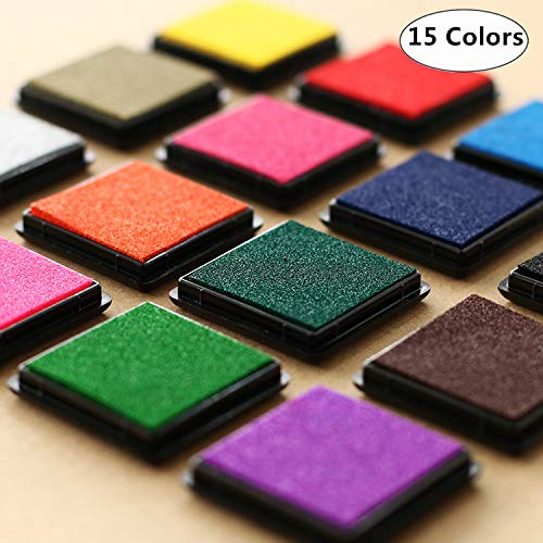 15 Colors Ink Pad Stamps, Magnoloran Washable Rainbow Craft Finger Ink Pad Partner DIY Color Kid's Rubber Stamp for Stamps, Paper, Scrapbooking, Woods, Fabric and Card Making