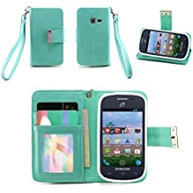 IZENGATE Samsung Galaxy Centura / Discover Wallet Case - Executive Premium PU Leather Flip Cover Folio with Stand (Mint)