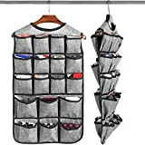 Haundry Hanging Bra Organizer with 26 Pockets, Double Sided Closet Hanging Storage Bag for Underwear Tshirts Socks Accessories