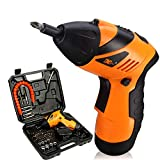 MOPHOTO 4.8-Volt 3 Position Cordless Rechargeable Screwdriver Electric Screwdriver Drill Bit Kit Set with Flashlight (46PC Screwdriver)