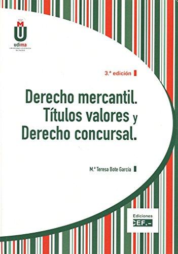 Descargar Libro Derecho Mercantil. Títulos Valores Y Derecho Concursal María Teresa Bote García