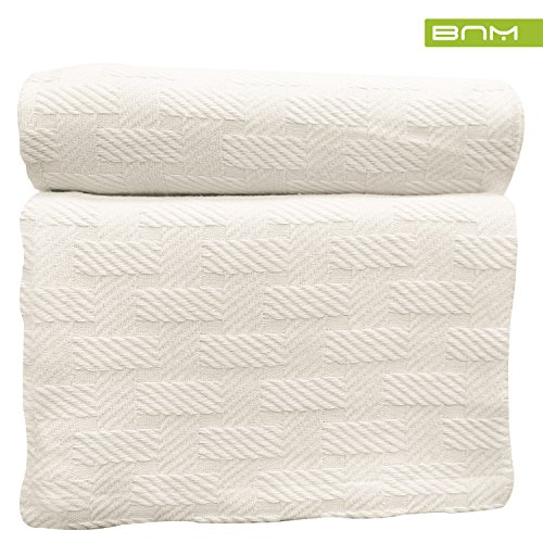 Basket Weave Twin/Twin XL Cotton Blanket, Soft Throw Blanket For Couch, Snuggle in these Cozy Cotton Blankets, lightweight summer blanket, Ivory