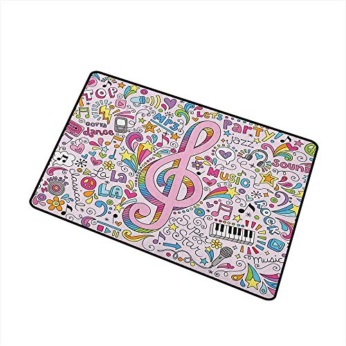 Wang Hai Chuan 70s Party Commercial Grade Entrance mat Music Clef Groovy Psychedelic Doodles Hand Drawn Hippie Symbols Signs Artwork for entrances garages patios W29.5 x L39.4 Inch Multicolor -