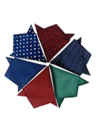 Driew Mens 6 Pcs Pocket Square Handkerchiefs with Assorted Pattern
