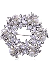 Alilang Womens Silver Tone Clear Rhinestones Faux Pearls Festive Floral Butterfly Wreath Brooch Pin