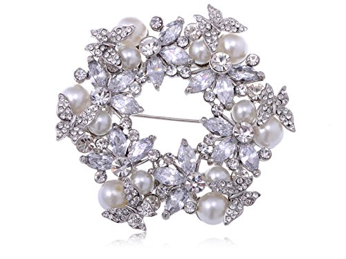 Alilang Womens Silvery Tone Clear Rhinestones Faux Pearls Festive Floral Butterfly Wreath Brooch Pin