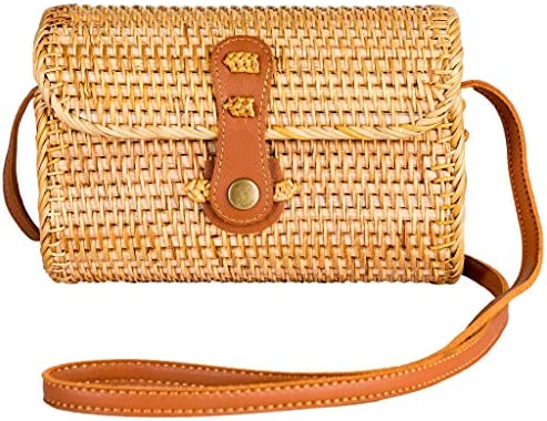 NATURAL NEO Clutch Wallet Straw Bag Boho Circle Crossbody Purse Rattan Hand Woven For Women Small Shoulder Crossbody Necessities Bags Wicker Purses In Summer Vacation With Flower Patterns