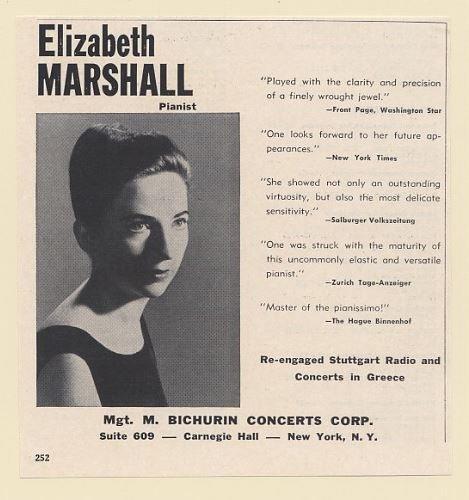 1965 Elizabeth Marshall Pianist Photo Booking Print Ad (65880)