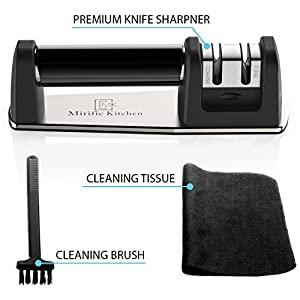 Knife Sharpener for Straight & Serrated Knives by Mirific Kitchen | Manual 2-stage Kitchen Knife Sharpening tool for Dull Blades | 2 Bonuses: Cleaning Brush + Fine Tissue