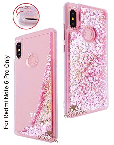 reputable site e01b2 0f904 DORRON Liquid Waterfall Girls Back Cover Case for Mi Xiaomi Redmi Note 6  Pro (Pink_Love Hearts)