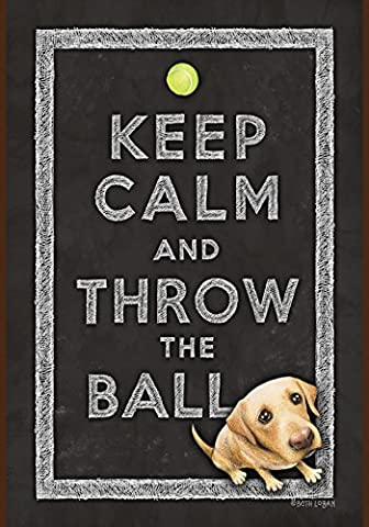 Toland Home Garden Keep Calm and Throw the Ball 12.5 x 18-Inch Decorative USA-Produced Double-Sided Garden Flag
