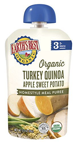 Earth's Best Organic Stage 3 Baby Food, Turkey Quinoa Apple Sweet Potato Dinner, Non GMO Ingredients, 2 grams of Protein, 3.5 Oz Pouch (Pack of 6) Infant New Potatoes