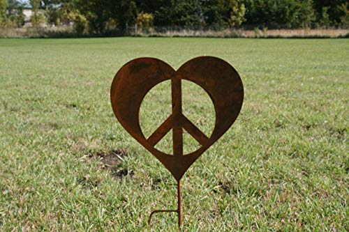 Metal Heart-shaped Peace Sign Garden Stake, 18x30