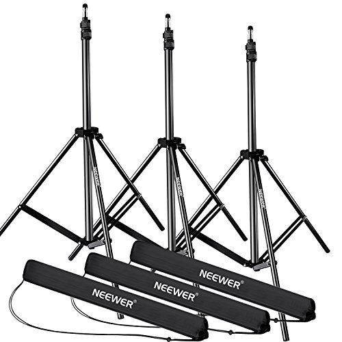 Neewer 28-83 inches/72-210 centimeters Adjustable Aluminum Alloy Light Stands with Durable Carrying Case for Video, Portrait Photography Lighting, Reflectors, Softboxes and Umbrellas (3 Packs) by Neewer