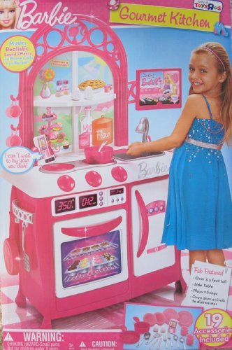 Barbie Gourmet Kitchen Over 3 5 Ft Tall Child Size Playset W 19 Accessories Sounds Music More Toys R Us Exclusive 2011