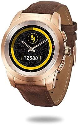 MyKronoz ZeTime Premium Reloj Inteligente híbrido 39mm con Agujas mecánicas sobre una Pantalla a Color táctil – Petite Cepillado Oro Rosa/Cuero Marron