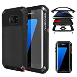 Seacosmo Protective Case for Galaxy S7 Edge, Military Grade Rugged Heavy Duty Aluminum Shockproof Dual Layer Bumper Cover, Black