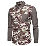 Mens Shirt, Slim Fit Casual Long Sleeve Business Print Blouse Tank Tops Chemise (M, Gray)