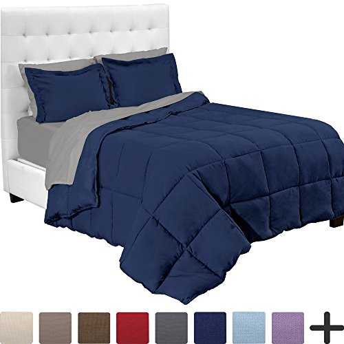 7-Piece Bed-In-A-Bag - Full (Comforter Set: Dark Blue, Sheet Set: Light Grey)