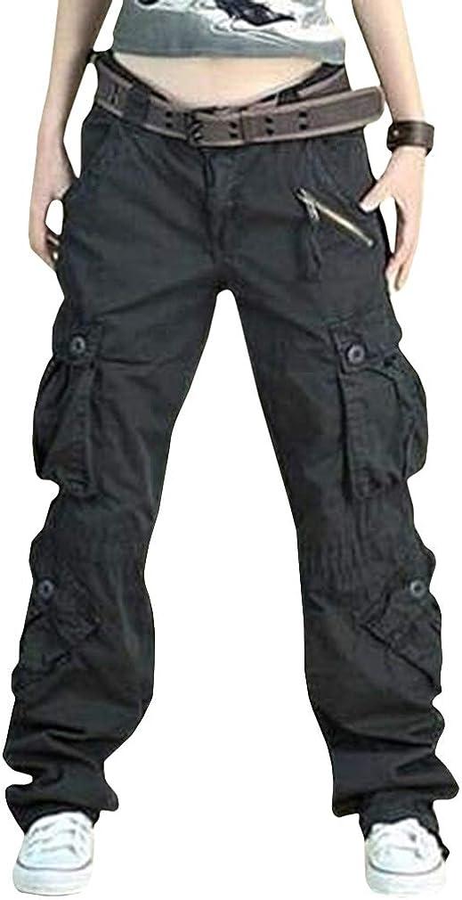 Pantalones Mujer Pantalones Cargo Multi Bolsillo Suelto Pantalones Combat Cintura Alta Color Solido Pantalones Da Trekking Comodo Transpirable Talla Grande S 4xl Ropa Ak Oz Com
