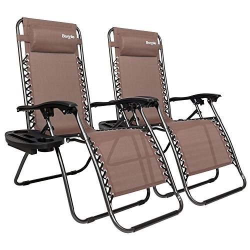Bonnlo Infinity Zero Gravity Chair, Outdoor Lounge Patio Chairs with Pillow and Utility Tray Adjustable Folding Recliner for Deck,Patio,Beach,Yard Pack 2(Brown) (Sams Outdoor Furniture)