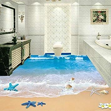 Benutzerdefinierte 3D Boden Wandbilder Tapete Strand Bad Wasserdicht ...