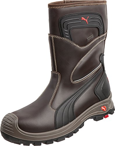Puma Safety Brown Mens Leather Rigger EH WP Comp Toe PullOn Work Boots 8 W -