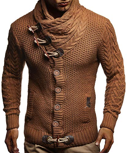 Leif Nelson Men's Knitted Jacket Turtleneck Cardigan Winter Pullover Hoodies Sweaters LN4195; Size US XXL, Brown ()
