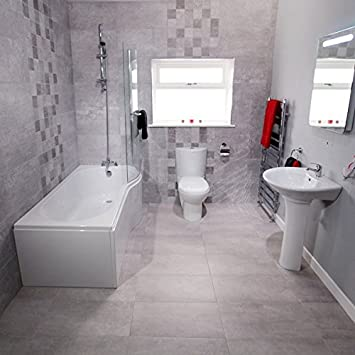 Bathroom Suite Complete Package Bath Toilet Basin Taps White