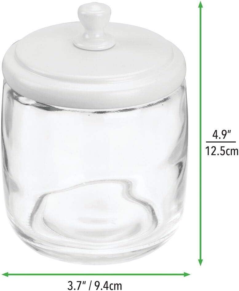 schlichte Wattedose /& Wattest/äbchenbeh/älter aus Glas mDesign 2er-Set Wattepadbeh/älter mit Deckel Wattest/äbchen und Watteb/äusche durchsichtig//bronze praktischer Beh/älter f/ür Wattepads