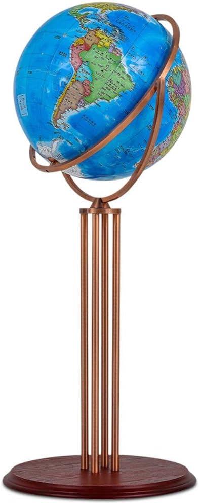 地球儀 地理学おもちゃの世界グローブデスクトップ42CM HDユニバーサルアンティークグローブハイエンドホームオフィスデコレーション 子供用 学習 行政図 (Color : Blue, Size : 42x110cm)