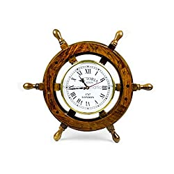 Nautical Handcrafted Wooden Premium Wall Decor Wooden Clock Ship Wheels | Pirate's Accent | Maritime Decorative Time's Clock | Nagina International (12 Inches, Clock Size - 6 Inches)