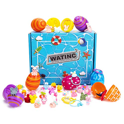 WATINC 20Pcs Easter Eggs with Toys Inside, Rabbit Themed Rings and Hair Ties Filled Multicolor Easter Egg, Colorful Surprise Plastic Egg Filler Set, Easter Basket Stuff, Party Gifts for Little Girls